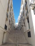 White steps across the hilly Lisbon stock image