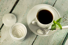 White stevia powder and coffee Royalty Free Stock Image