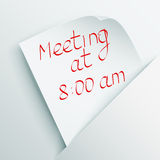 White stick note with message about meeting Royalty Free Stock Photos