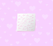 White sticky note love handwritting Stock Images