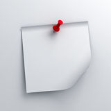 White sticky note paper with red push pin on white background Royalty Free Stock Photography