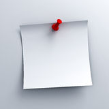 White sticky note paper with red push pin on white background Stock Photos