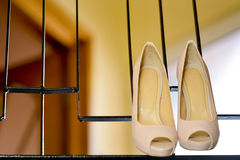 White stilleto bridal shoes Royalty Free Stock Images