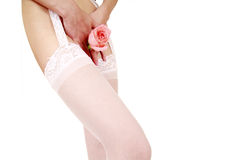 White stockings with rose Royalty Free Stock Photo