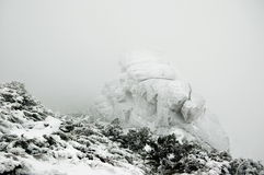 White stone. In frosty foggy mountains Royalty Free Stock Images