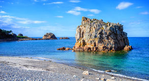 White stone beach on Pink Granite Coast, Brittany, France Royalty Free Stock Photography