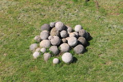 White stone cannonballs Royalty Free Stock Image