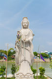 The white stone carving for Guan Yin statue Royalty Free Stock Photography