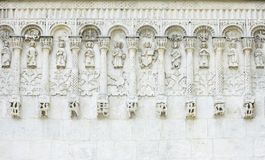 White stone carvings, ancient church Stock Images