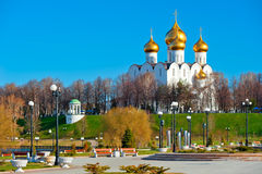 White-stone cathedral with golden domes Royalty Free Stock Photo