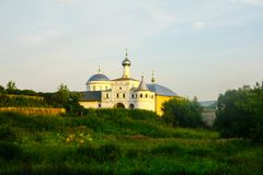 White stone Cathedral on the hill stock images