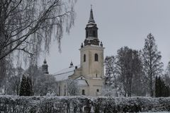 White church in Swedish winter land Royalty Free Stock Photography