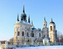 White stone church built in russian gothic style Stock Photo