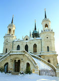 White stone church built in russian gothic style Royalty Free Stock Photo