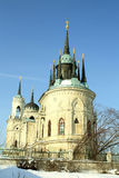 White stone church built in russian gothic style Stock Image