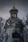 White stone church in the dark Royalty Free Stock Photography