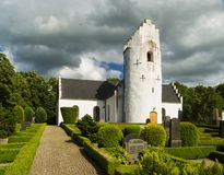 Hammarlov Church in southern skane. The white stone church at hammarlov in the Skane region of Sweden Stock Photos