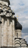 White stone church. Steepled white stone church, the dome Stock Image