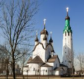 White stone Church on a Sunny day against a blue sky-image royalty free stock images