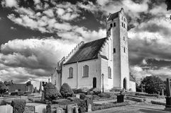 Fru Alstad Church in bw stock image