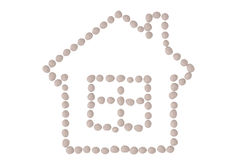 White stone combined to house line,3D illustration. Stock Photos