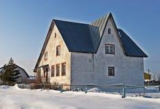 White Stone Cottage In Retro Style Royalty Free Stock Photo