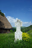 White stone cross in the outdoors Royalty Free Stock Photo