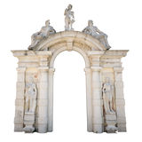 White stone entrance with statues suitable as a frame or border. Stock Image