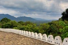 White stone fence in Buddha Rock temple in Dambulla, Shri Lanka Stock Photography