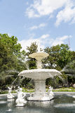 White Stone Fountain in Forsyth Park Royalty Free Stock Photography