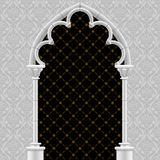 White stone gothic gate with classic decorative background Stock Photos
