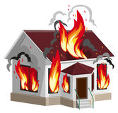 White stone house burns. Property insurance against fire. Home insurance Stock Photos