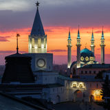 The white-stone Kazan Kremlin and Kul Sharif mosque with a fiery sunset Stock Images