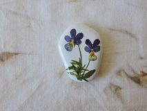 White stone with pansy flower Royalty Free Stock Photography