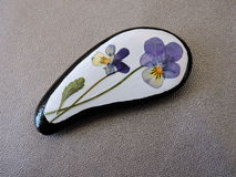White stone with pansy flowers Royalty Free Stock Photo