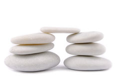 White stone pebble zen isolated Stock Photos