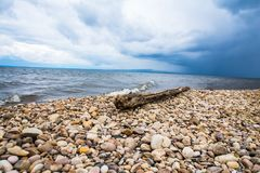 White Stone Pebbles Sea Shore Stock Photo