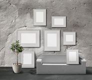 White stone picture gallery. Exhibition space, empty frames collection stock illustration