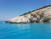 White stone at Porto Katsiki beach, Lefkada, Greece. Beautiful Porto Katsiki Beach in Lefkada Island, Greece with turquoise clear water and white stones stock photo