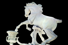 White stone sculpture of a horse Royalty Free Stock Image