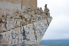 White stone ship shaped Monument to the Discoveries in Lisbon Po Stock Photography