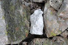 White stone between the typical stones, covered by moss. Royalty Free Stock Photo