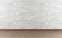 White stone wall and hardwood floor Royalty Free Stock Photos
