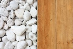 White stone and wooden floor Stock Photography