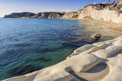 White stones bay. The famous bay of white stones Scala dei Turchi (Stair of the Turks) A rocky cliff on the coast of Realmonte, near Porto Empedocle, southern royalty free stock photo