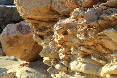 White stones beach on Cyprus. Near Pathos and Coral Bay royalty free stock images
