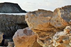 White stones beach on Cyprus. Near Pathos and Coral Bay stock images