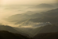 From the White Stones Peak. Beautiful morning from the White Stones Peak in the Mehedinti Mountains, Romania royalty free stock photos