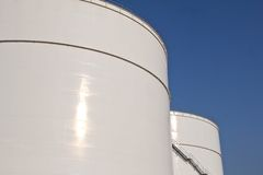 White storage tanks Stock Images