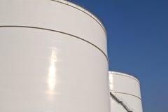 White storage tanks. Some big white storage tanks for liquids Stock Images